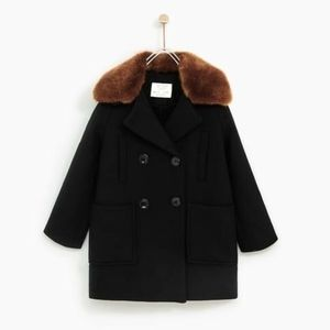Zara girls black Sherpa lined coat